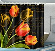 economico -tulipano inglese stampa digitale tenda da doccia tende da doccia ganci moderno poliestere nuovo design