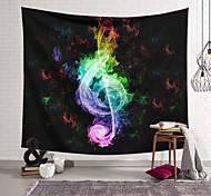 abordables -Tapisserie murale art décor couverture rideau suspendu maison chambre salon décoration polyester fibre couleur flamme note de musique lanting conception