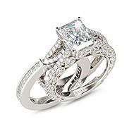 economico -set di anelli di fidanzamento per donna in argento 925 da 5,2 carati con zirconi a taglio radiante promettono anelli di anniversario con pietre laterali ...