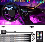 economico -1 pz auto ha condotto la luce di striscia 48 led dc 12v multicolore musica auto luce interna led sotto il cruscotto illuminazione interni auto atmosfera luce automobilistica auto lampada decorativa