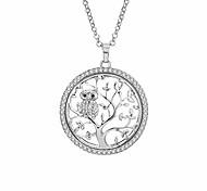 economico -collana albero della vita per donna uomo argento con ciondolo gufo gioielli in cristallo