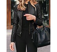 economico -Per donna Giacca Tinta unita Casuale Autunno inverno Giacche di pelle Standard Quotidiano Manica lunga PU (Poliuretano) Cappotto Top Bianco
