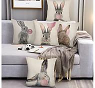 abordables -Happy Easter housse de coussin 5pcs lin doux décoratif carré housse de coussin taie de coussin taie d'oreiller pour canapé chambre 45 x 45 cm (18 x 18 pouces) qualité supérieure lavable en mashine