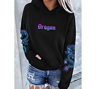 abordables -Femme Sweat-shirt à capuche Dragon Graphique Texte Poche avant Quotidien basique Simple Pulls Capuche Pulls molletonnés Blanche Noir