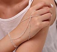 abordables -Boho doigt bracelets bague chaîne de main de mariage et de plage esclave bracelet bijoux pour femmes et filles (argent)