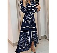 economico -Per donna Vestito svasato Vestito maxi Blu Manica a 3/4 Fantasia floreale Con stampe Collage Con stampe Estate A V Elegante abiti da vacanza 2021 S M L XL XXL 3XL