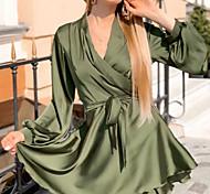 economico -Per donna Abito linea A Mini abito corto Nero Blu Verde militare Cachi Verde Marrone Manica lunga Tinta unica Increspato Lacci Autunno Inverno A V Casuale 2021 S M L XL XXL