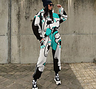 economico -Per donna Moda città Fantasia geometrica Set due pezzi Felpa Tuta da ginnastica Pantalone loungewear Pantaloni da jogger A cordoncino Top