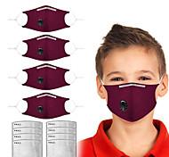 abordables -4 pcs anti-poussière masques en tissu anti-brume lavables enfants noirs oreilles adultes coton tissu masques de couleur unie