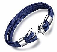 abordables -Bracelet en cuir fait à la main pour homme Bracelet d'ancre vintage multicouche Bracelet de manchette en corde avec boîte-cadeau