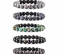 abordables -Bracelet diffuseur d'huile essentielle de pierre de lave - Perles de pierres précieuses semi-précieuses naturelles Bracelet de cristal de guérison (# 3 lot de 5)