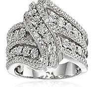 abordables -bague en argent sterling à 3 rangs de diamants torsadés (1/10 cttw), taille 8