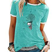 abordables -T-shirt Femme Quotidien Fin de semaine Imprimés Photos Manches Courtes Patchwork Imprimé Col Rond Hauts Ajustable Haut de base basique Blanche Noir Bleu