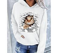 economico -Per donna Felpa con cappuccio pullover Gatto Pop art 3D Tasca frontale Quotidiano Essenziale Casuale Felpe con cappuccio Felpe Bianco