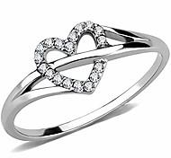 abordables -Anniversaire de fiançailles de mariage en forme de coeur en acier inoxydable propose une bague (argent, 5)