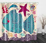 abordables -Étoile de mer poisson peinture impression tissu imperméable rideau de douche pour salle de bain décor à la maison rideaux de baignoire couverts doublure comprend avec crochets