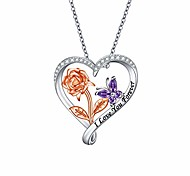 economico -s925 collana in argento sterling con fiore rosa farfalla amore cuore ciondolo per donne adolescenti