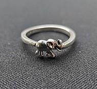 economico -anello d'argento dell'elefante dell'annata, anello dell'elefante dell'argento sterlina 925 anelli impilabili anelli di promessa dell'eternità per lei (argento, 8)