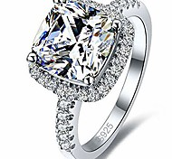 economico -placcato platino 4 carati taglio princess cz diamante simulato anello proposta di fidanzamento di nozze (argento, 9)