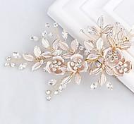 abordables -Barrette de peigne de mariée en strass en or rose clair - pièces de tête de pince à fleurs faites à la main pour les femmes