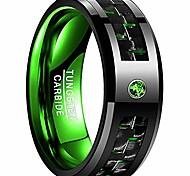 economico -Anello in tungsteno di carbonio verde da 8 mm Anello in carburo di tungsteno con inserto in fibra di carbonio nero e verde Fede nuziale di fidanzamento taglia 10