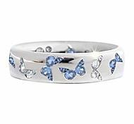 economico -anello a farfalla con strass per donne ragazze adolescenti, elegante anello di fidanzamento con zirconi cubici placcato argento, regalo di gioielli di compleanno anniversario (blu, 6)