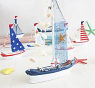 abordables -Décoration de la maison de style méditerranéen ornements de modèle de voilier bleu et blanc