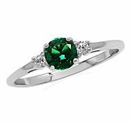 economico -anello di promessa in argento sterling 925 con nano smeraldo verde petite e zirconi bianchi misura 4,5