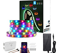 economico -rgbic wi-fi bluetooth led kit striscia di luce intelligente 5m 10m tiktok cloud wall outdoor impermeabile 16 milioni di colori 5050 smd led strip con app voice controller wi-fi e adattatore ip67
