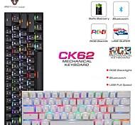 abordables -Motospeed ck62 USB filaire bluetooth sans fil double mode mécanique rgb rétroéclairé clavier de jeu 61 touches mini clavier portable