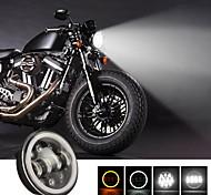abordables -1 pcs Motos Phare 6000K Blanc Super Lumineux Rond LED Phare De Projection Pour Moto LED Travail Spot Lumière Noir
