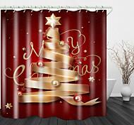 abordables -Rideau De Douche En Tissu Imperméable Imprimé De Ruban D'or De Noël Pour La Salle De Bains Décor À La Maison Couvert Baignoire Rideaux Doublure Comprend Avec Crochets