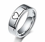 economico -anello di coppia di parttern ecg con battito cardiaco in acciaio al titanio color argento per uomo e donna (6 mm, 8)