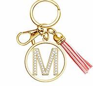 abordables -lettre porte-clés avec gland pour femmes sac à main portefeuille sacs à main charmes cristal alphabet lettre pendentif porte-clés (m)