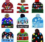 abordables -LED chapeau de noël chandail tricoté bonnet de noël allumer chapeau tricoté cadeau de noël pour les enfants noël 2021 décorations du nouvel an