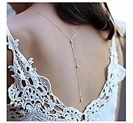 abordables -chaîne de corps de perles de fond de collier pour les femmes. (argent)