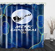abordables -Rideau de douche en tissu imperméable imprimé de voiture de ski du père Noël pour salle de bain décor à la maison rideaux de baignoire couverts doublure comprend avec crochets