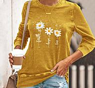 economico -Per donna maglietta Pop art Farfalla Margherita Manica lunga Con stampe Rotonda Top Essenziale Top basic Nero Blu Giallo