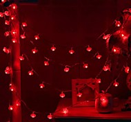 economico -3M 6m Fili luminosi 20/40 LED 1 pc Rosso Feste Decorativo Batterie AA alimentate