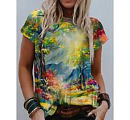 abordables -T-shirt Femme Quotidien Sans Doublure Plantes Graphique 3D Manches Courtes Imprimé Col Rond Hauts Standard Haut de base basique Vert