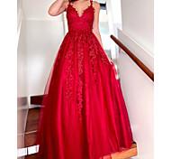 abordables -Robe de Soirée Sexy Fleur 18 ème Anniversaire robe ceremonie Robe Col en V Sans Manches Longueur Sol Tulle avec Plissé Appliques 2021