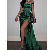 abordables -Fourreau / Colonne Look de Célébrité Sexy Fête scolaire robe ceremonie Robe Epaules Dénudées Sans Manches Traîne Brosse Satin avec Fendue 2021