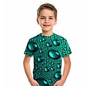 abordables -Enfants Garçon T-shirt Tee-shirts Manches Courtes Graphique 3D Imprimé Enfants Hauts Actif Vert