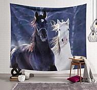 abordables -Tapisserie murale art décor couverture rideau suspendu maison chambre salon décoration noir et blanc cheval polyester