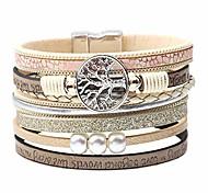 abordables -bracelet en cuir multicouche arbre de vie boho, boucle magnétique tressée à la main magnifique bracelet décontracté