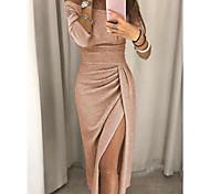 abordables -Fourreau / Colonne Etincelant Sexy Vêtements de fête Fête scolaire Robe Epaules Dénudées Demi Manches Longueur Cheville Jersey avec Ruché Fendue 2021