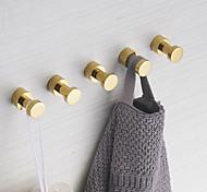 economico -ganci per accappatoio in ottone lucido set di accessori da bagno a parete contemporanei 3 pezzi / 5 pezzi oro