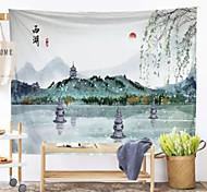 abordables -Peinture à l'encre de Chine style tapisserie murale art décor couverture rideau suspendu maison chambre salon décoration paysage rivière montagne grue soleil