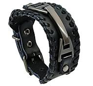abordables -Vintage cuir hommes bracelets punk fait à la main large manchette corde bracelet tissé bracelet bracelets pour hommes, noir, 241,5 cm