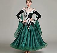 abordables -Danse de Salon Robe Paillettes Plissé Appliques Femme Entraînement Utilisation Manches Longues Taille moyenne Velours
